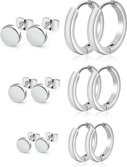 LOYALLOOK 6 Pairs Stainless Steel Stud Earrings Hoop Earrings Huggie Piercing for Men Women Silver Tone Black Tone