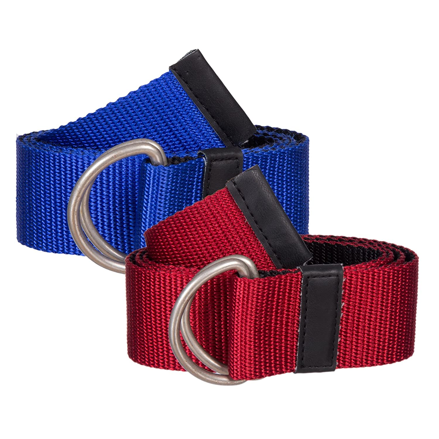 Sunny Belt Girls' 1 1/2 Wide 2 Pack Web Belts with Metal Double-Ring Buckles (One size up to 34) KDC_SUN_8435_2PK_R