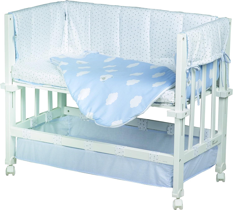 roba Berceau Babysitter 3 en 1 de la collection Petite Nuage rose petit lit et banc le tour de lit utilisable comme cododo bois laqu/é en blanc; inclus en livraison sont un matelas