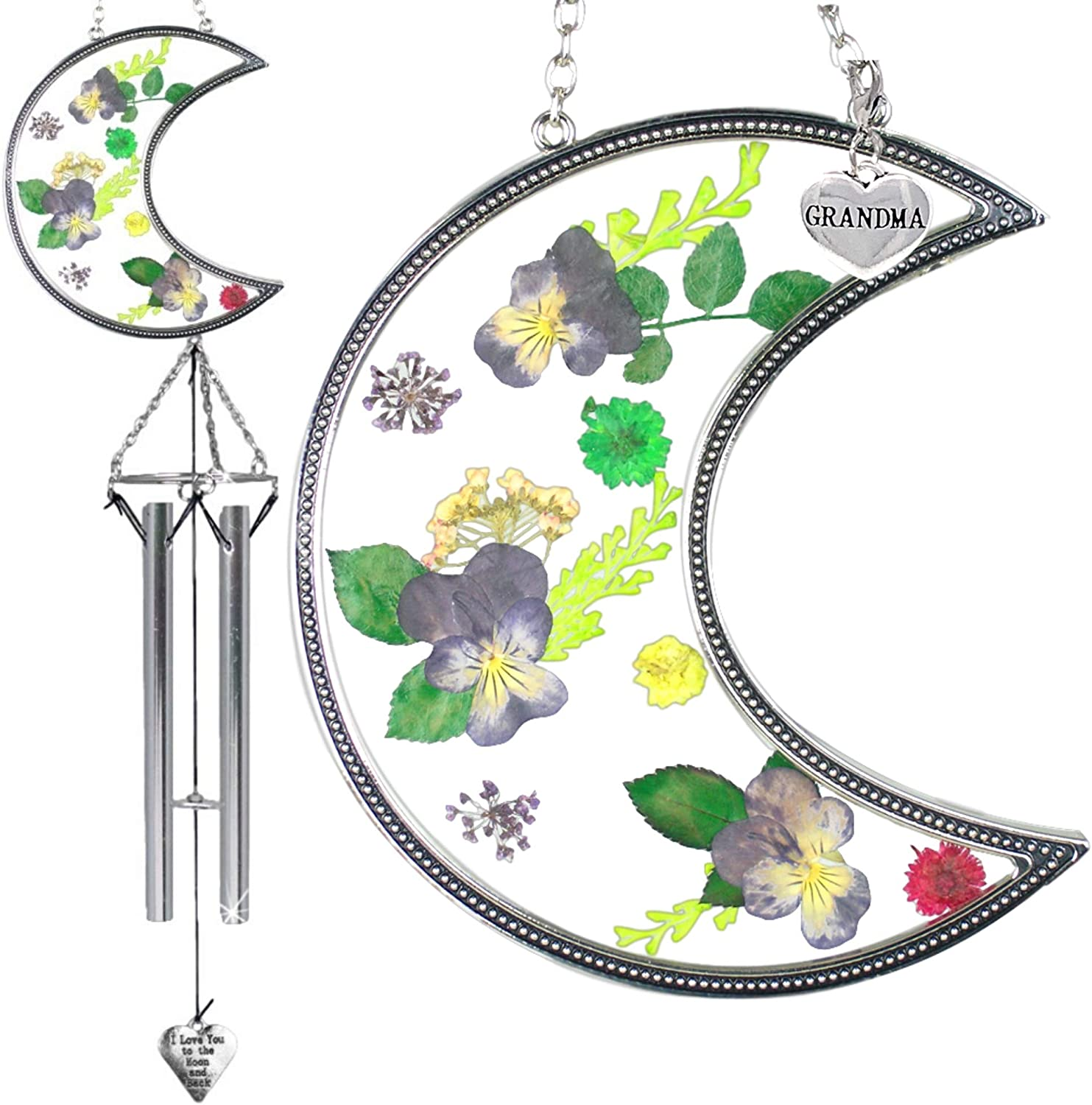 BANBERRY DESIGNS Grandma Wind Chime I Love You to The Moon and Back - Dried Pressed Flower Sun Catcher with Silver Grandma Charm - Garden Gifts for Mothers Day