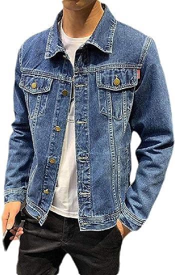 Mens Stretch Button Up Long Sleeve Slim Fit Denim Trucker Jacket