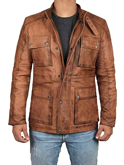 Brown Leather Jacket Men Real Lambskin Leather Jackets For Men At