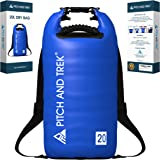 Dry Bag (Blue, 20L) with Long Adjustable Shoulder Straps and Heavy Duty Carry Handle - 100% WATERPROOF - The Almost Indestructible Rucksack by Pitch And Trek® Will Keep Your Kit Dry in Any Weather!