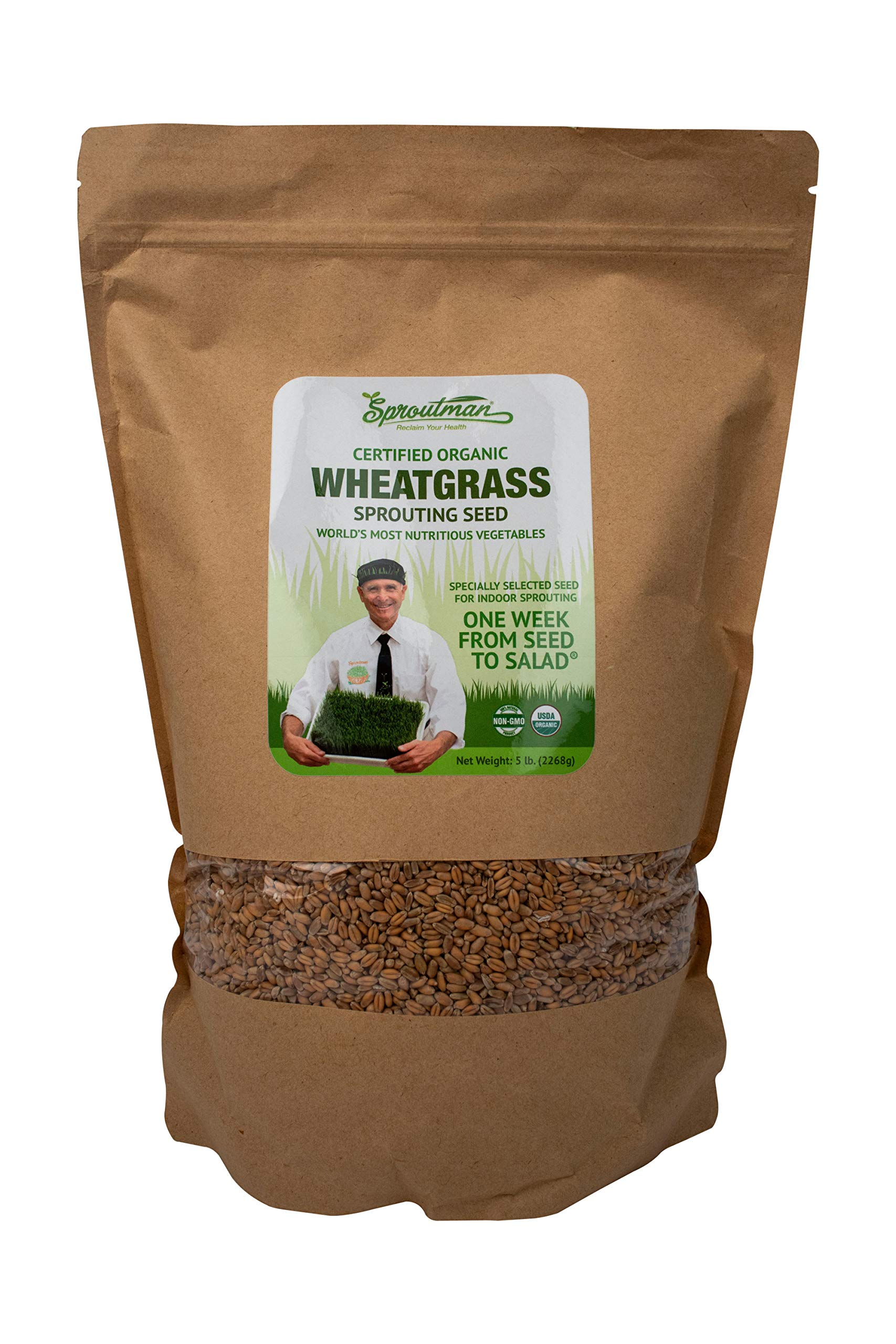 Sproutman Organic Wheatgrass Sprouting Seed - Wheatgrass Seeds for Sprouting, High Germination, Non-GMO, Certified Organic (5lb)