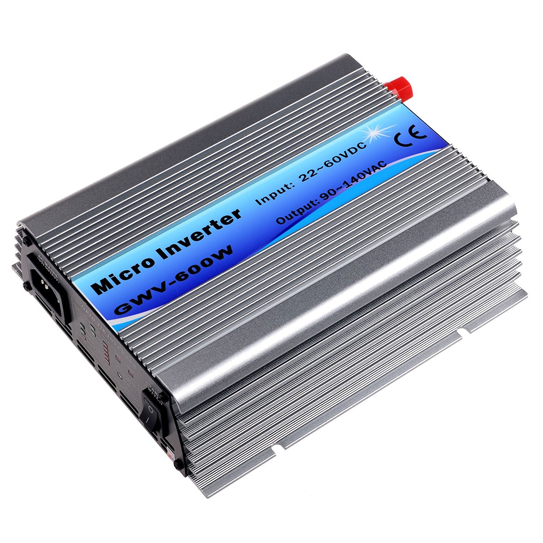 Y&H Grid Tie Inverter 600W Stackable DC22-60V Input AC110V MPPT Pure Sine Wave Micro Inverter fit for 30V 36V Solar Panel/36V Battery