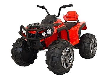 RIRICAR Quad Hero 12V, Rojo, Ruedas EVA Blandas, Control Remoto 2,4 GHz, Asiento de Cuero, suspensiones, batería 12V7Ah: Amazon.es: Juguetes y juegos