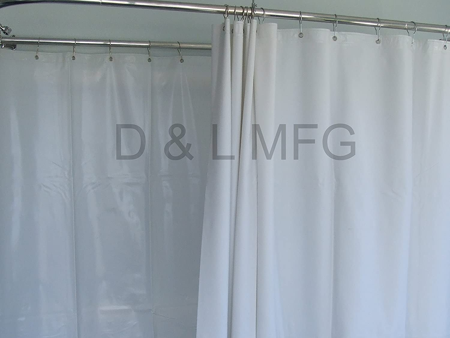Amazon.com: D&L Extra Wide Vinyl Shower Curtain for a Clawfoot Tub ...