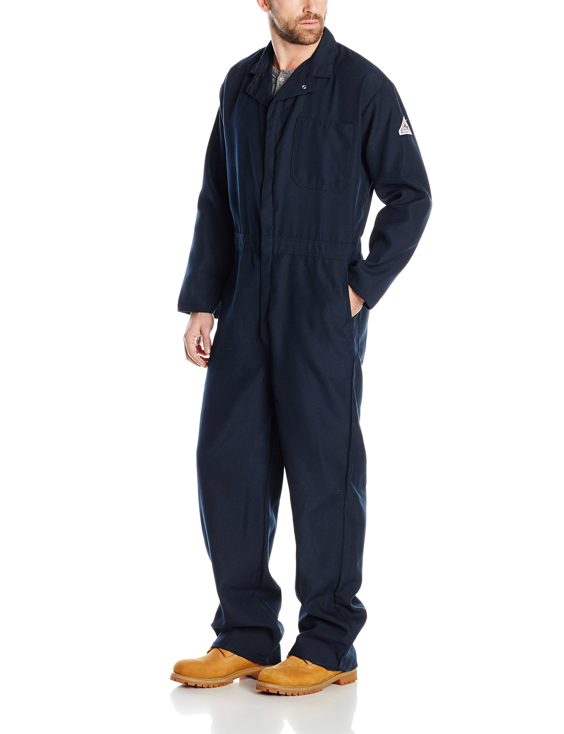 Bulwark Men's Flame Resistant 4.5 oz Nomex IIIA Classic Coverall with Hemmed Sleeves, Navy, 42 Long
