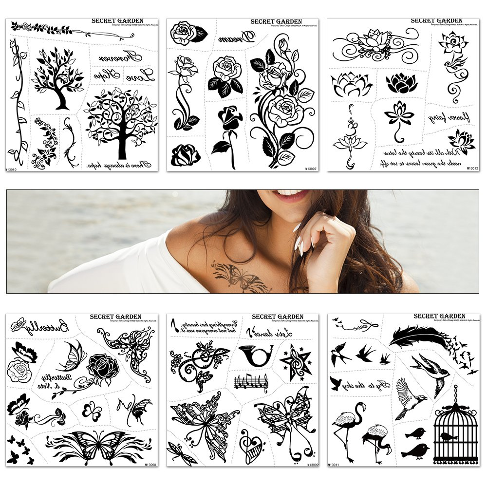 6 Sheets Fake Tattoo, Sexy Colorful Temporary Tattoo Flowers Body Sticker, Various Kind of Art Design for Adult and Fashion Girl, Above 55+ Designs (Package by Box)