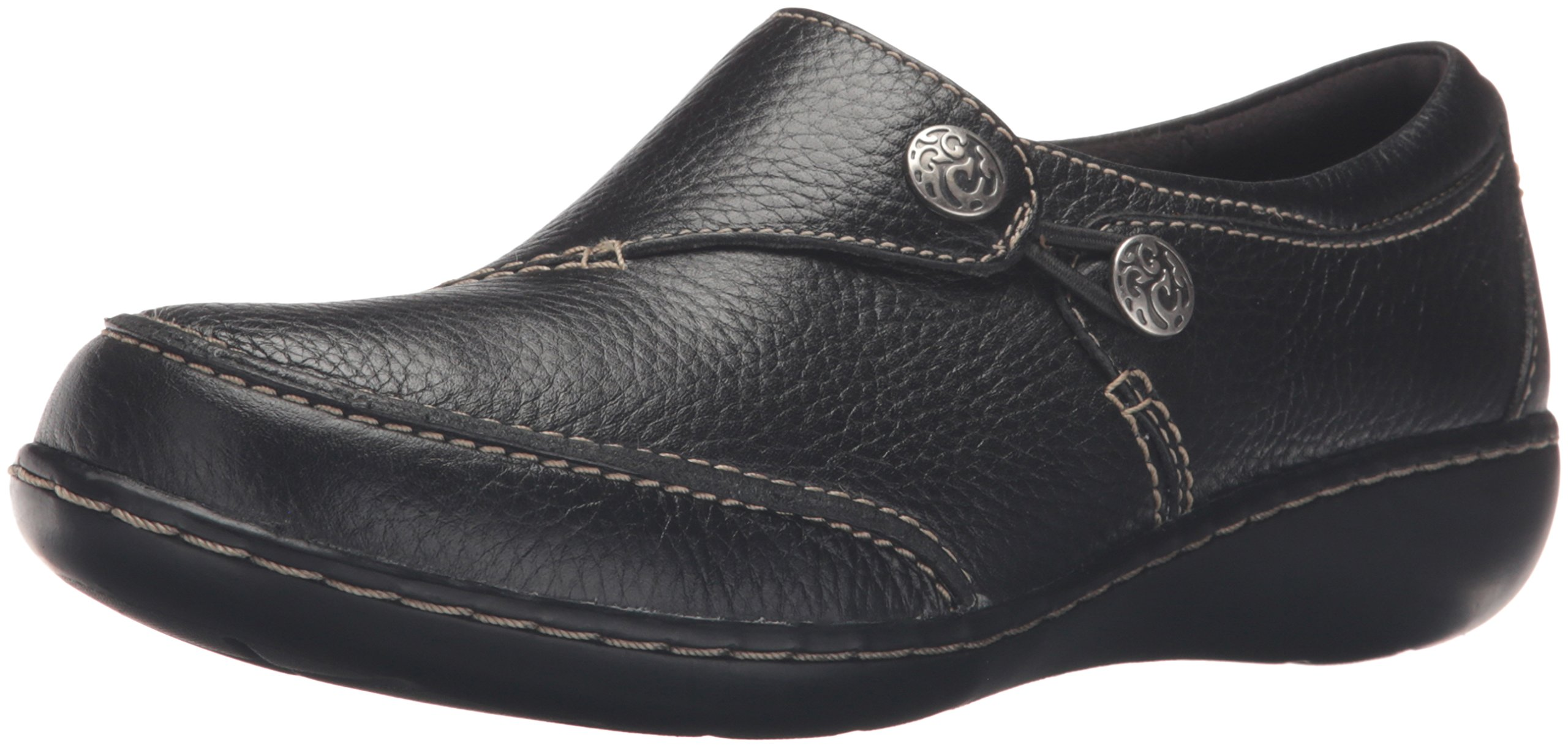 CLARKS Women's Ashland Lane Q Slip-on Loafer, Black, 8 M US