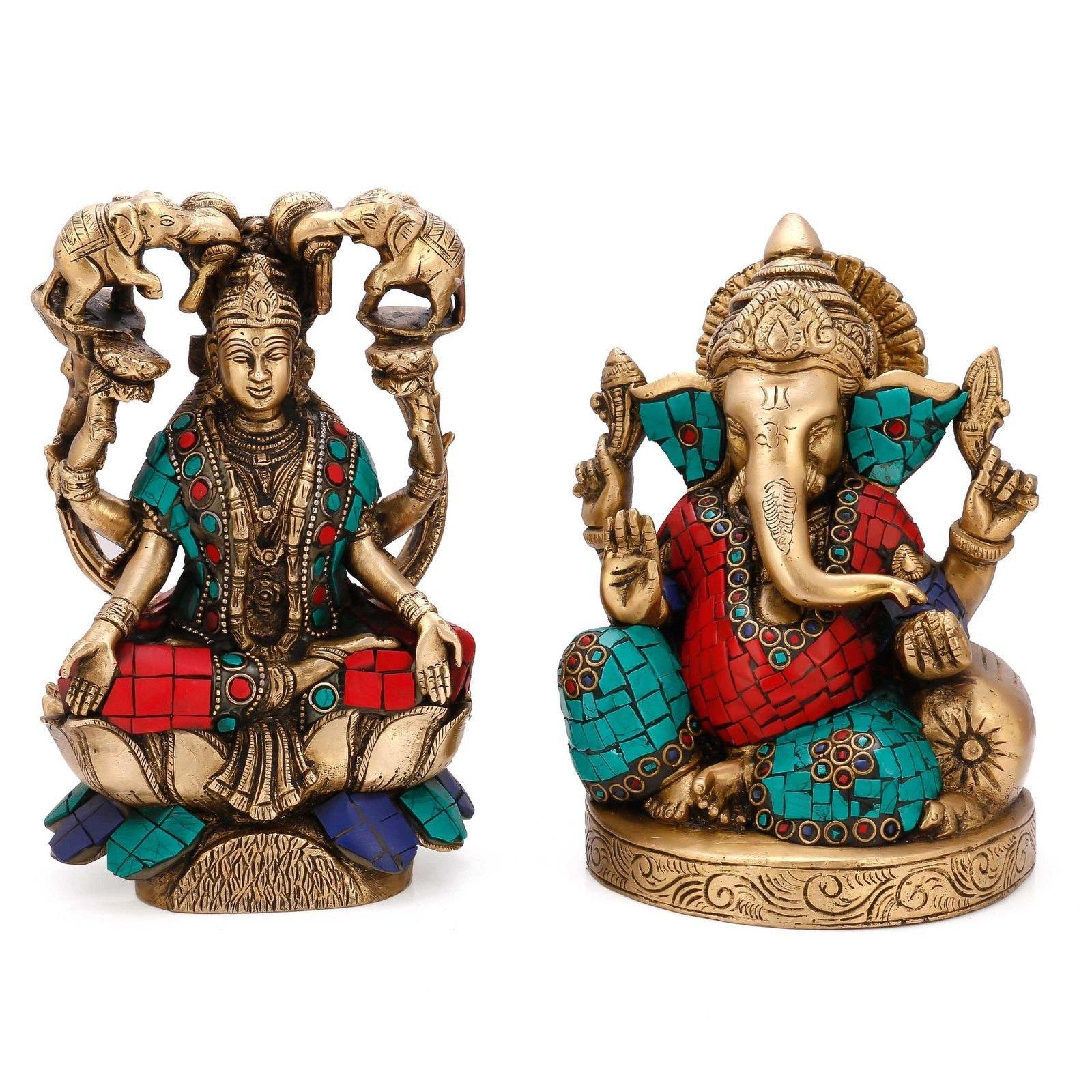Lord Ganesh & Goddess Lakshmi Statue Set of Hindu God Idol Turquoise Brass India Laxmi Ganesha Decor Gifts