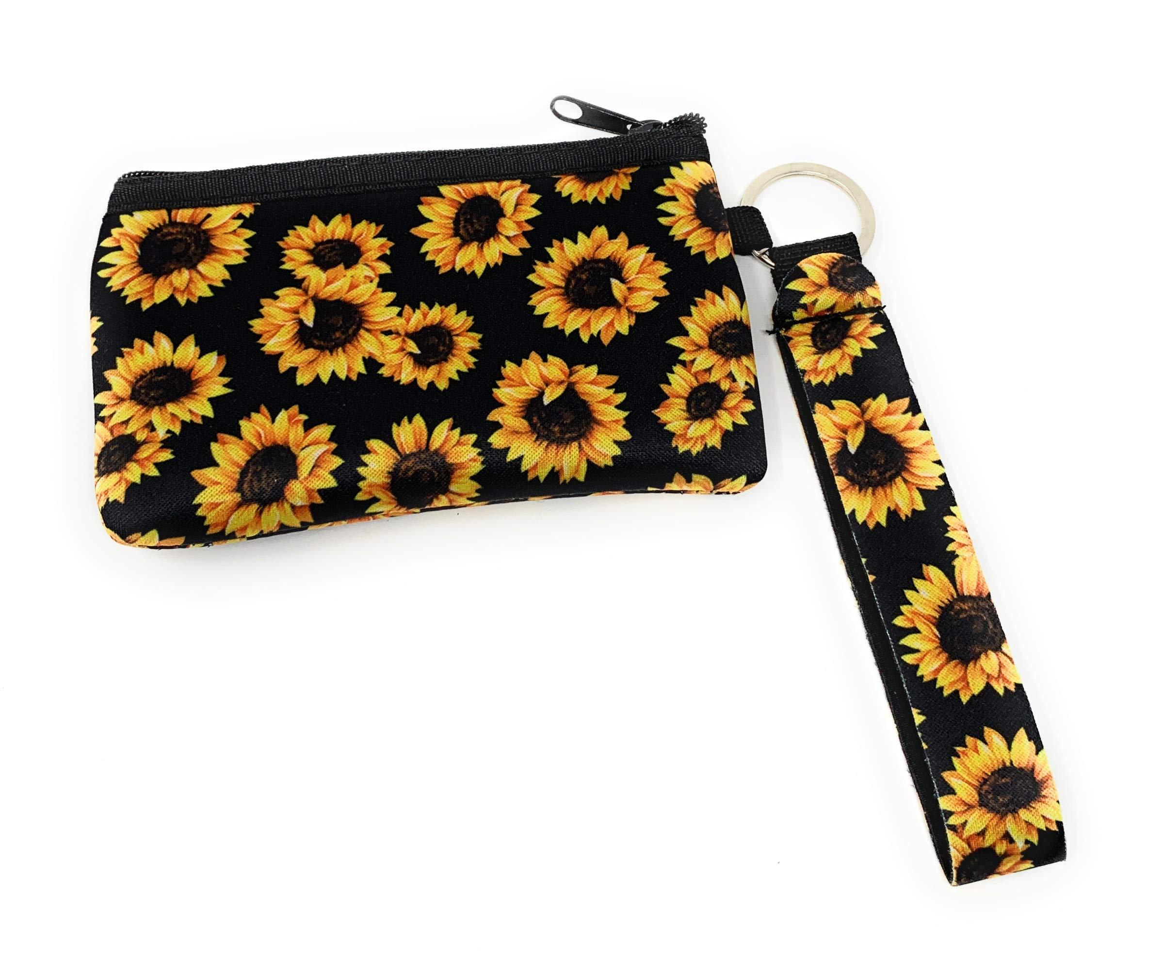 Daisy Lane Sunflower Credit Card Holder for Women Zipper Wristlet Pouch Neoprene
