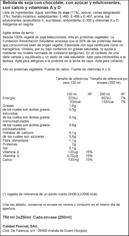 Vivesoy - Bebida de Soja sabor Chocolate - Paquete de 3 x 250 ml - Total: 750 ml: Amazon.es: Alimentación y bebidas