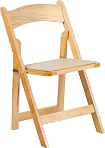 Flash Furniture HERCULES Series Natural Wood Folding Chair with Vinyl Padded Seat