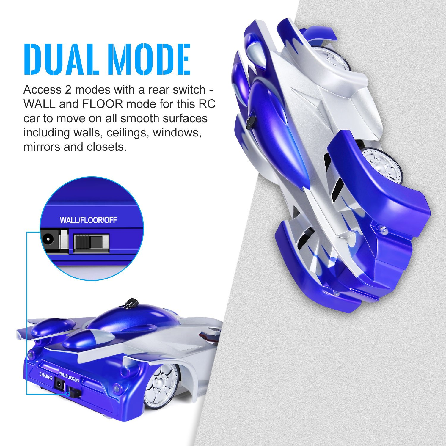 SGILE Remote Control Car Toy, Wall Climbing RC Car - Dual Mode 360° Rotating LED Head Stunt Car, Birthday Present Gift for Kids, Blue by SGILE (Image #1)