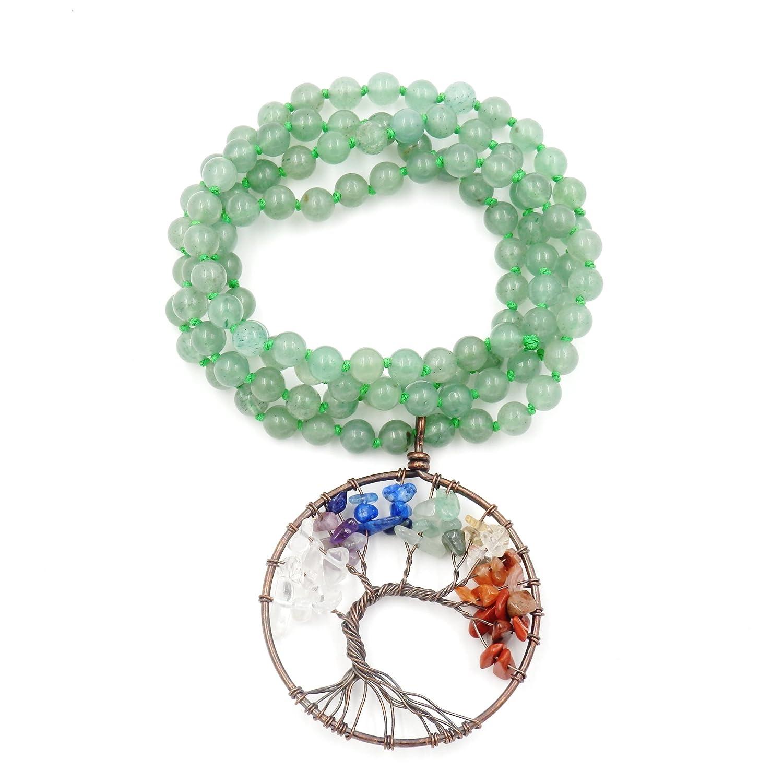 Collar de Piedras Preciosas Perlas Mala, 108 Buddhist Prayer Beads Collar, Collar anudadas a Mano (Aventurina Verde): Amazon.es: Joyería