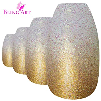 Bling Art Falsche Nagel Gold Gel Ombre Ballerina Sarg 24 Kunstnagel