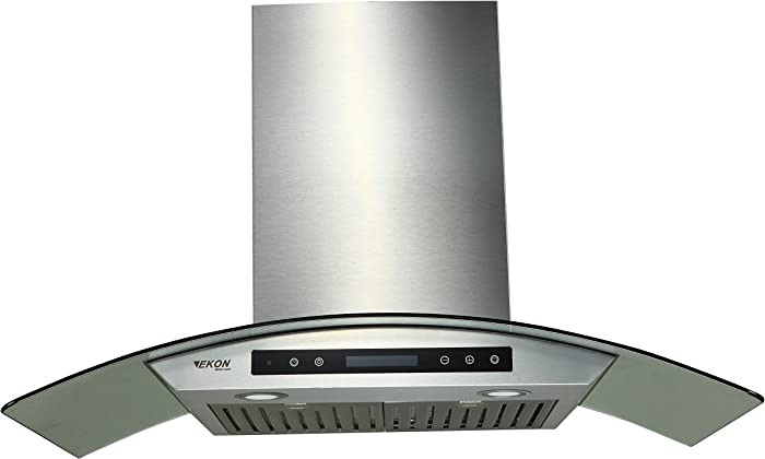 "EKON NAP03-36"" Wall Mounted Stainless Steel & Curved Glass Kitchen Range Hood / 4 Speeds Touch Control With Remote And LCD Display / 2 Pcs 3W Led Lamp /900 CFM (NAP03-36"")"
