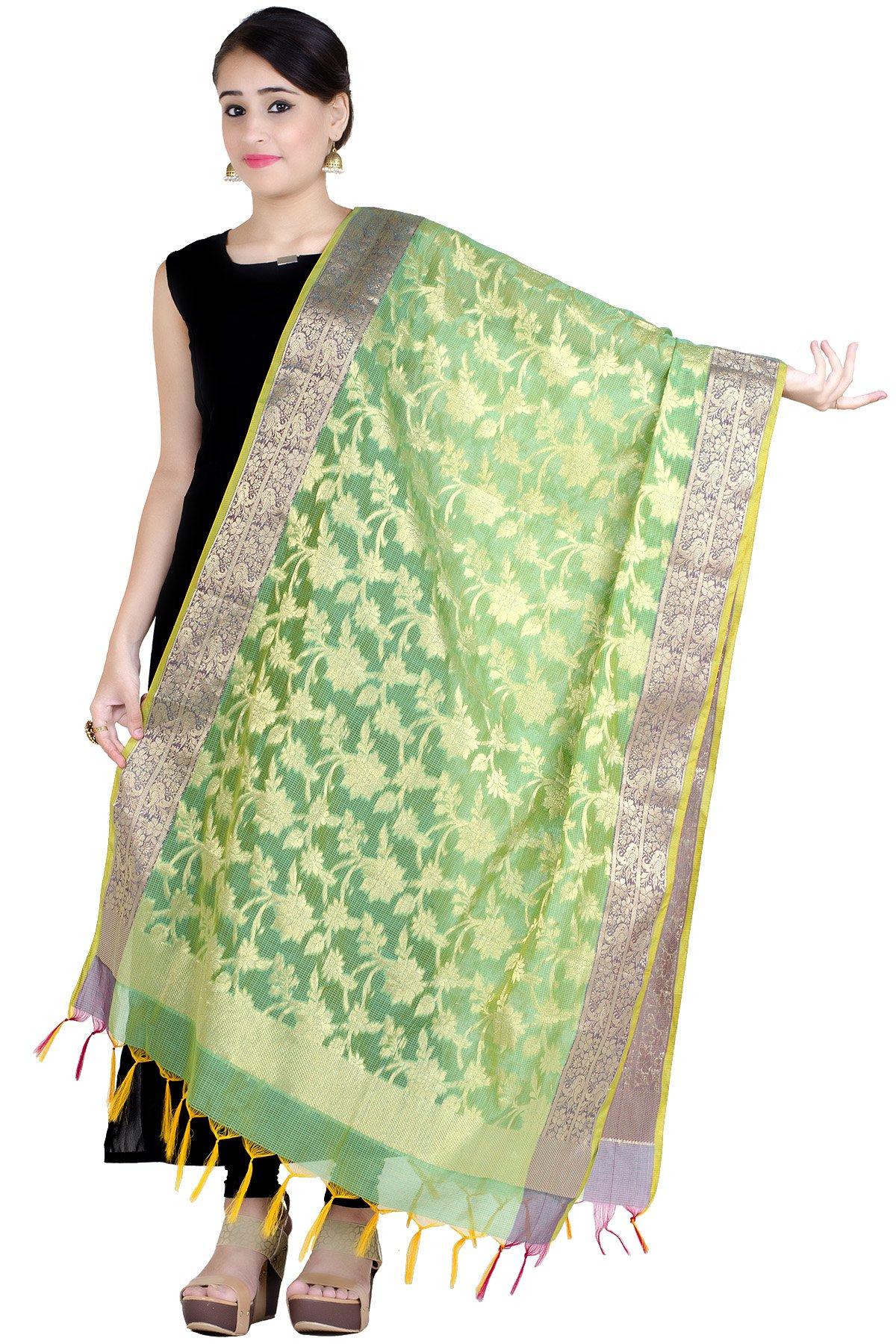 Chandrakala Women's Handwoven Zari Work Banarasi Dupatta Stole Scarf (Green)