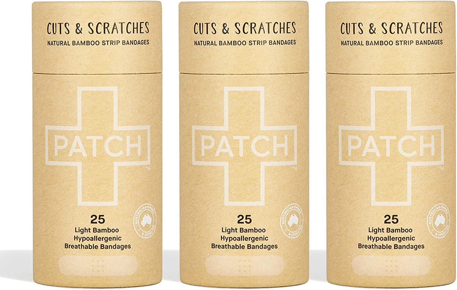 PATCH Eco-Friendly Bamboo Bandages for Cuts & Scratches, Hypoallergenic Wound Care for Sensitive Skin - Compostable & Biodegradable, Latex Free, Plastic Free, Zero Waste, Natural, 25ct (3pack)
