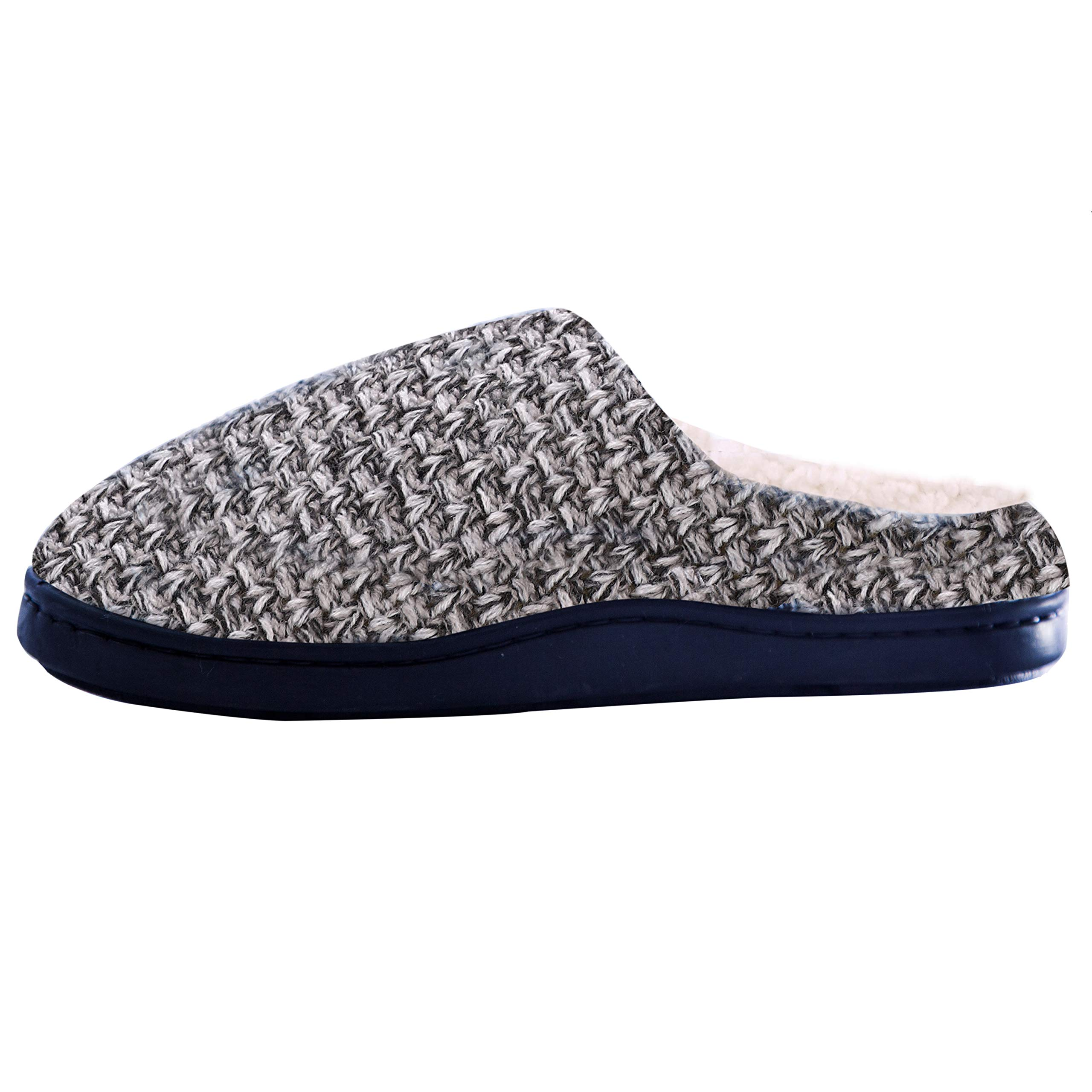 DRSLPAR House Memory Foam Slippers Comfort Plush Lining Slip-on Knit Indoor Outdoor Shoes for Men Women(Grey-Beige X-Large) by DRSLPAR (Image #6)