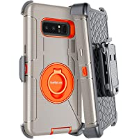 Galaxy Note 8 Case,Dailylux Note 8 Case Belt Clip Heavy Duty Shockproof Swivel Belt Clip Rugged Bumper Hybrid with Kickstand Holster Protective Cover Case for Samsung Galaxy Note 8-Orange+Gray