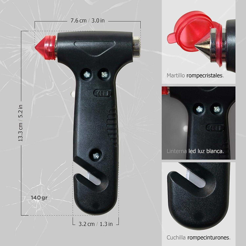 Luz 1 Martillo de Emergencia Coche: rompeventanas y Cortador de cintur/ón Seguridad Total SOS LIGHT PK1920 Pack port/átil