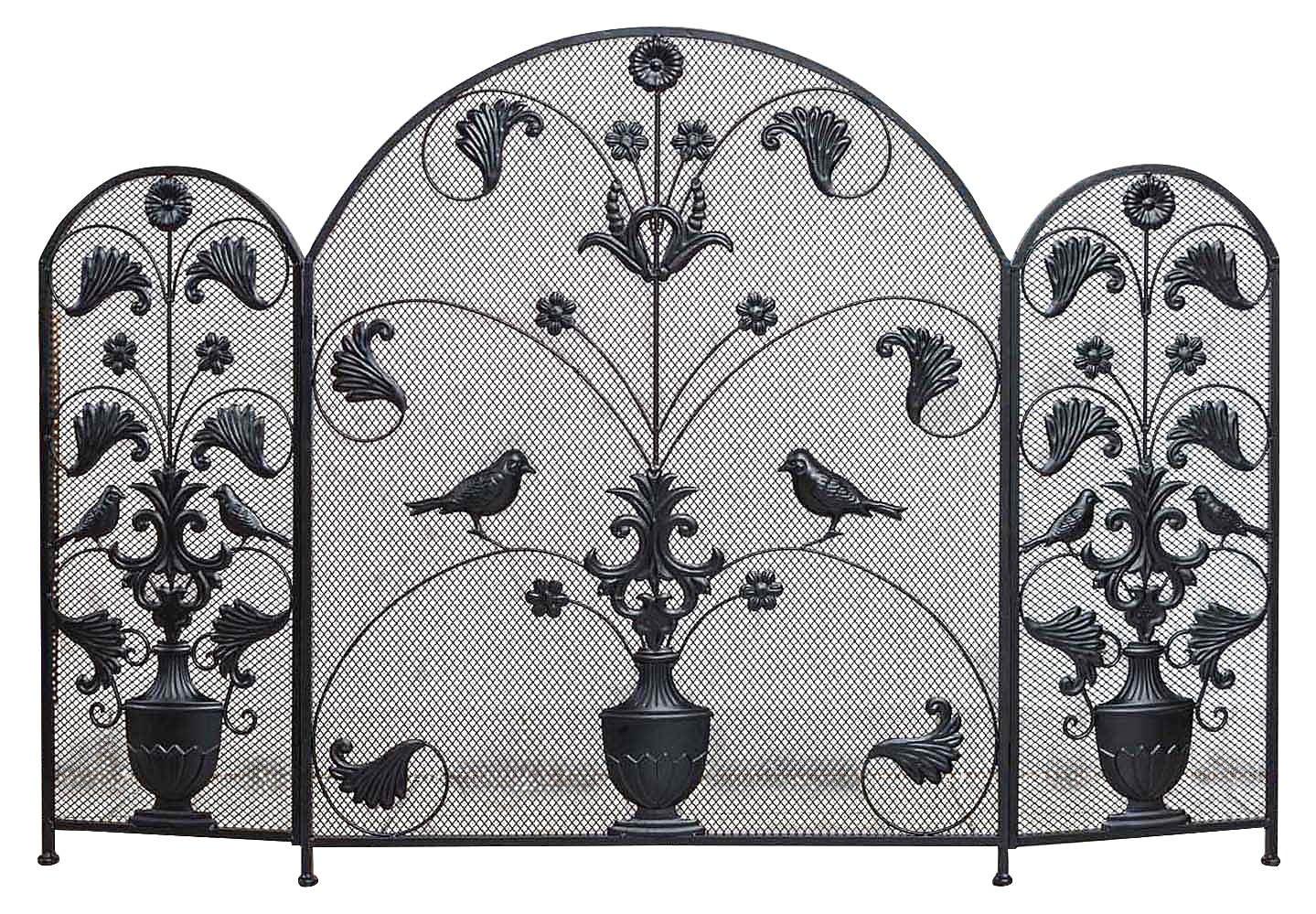 Parascintille per caminetto decoro a giglio francese in stile antico ferro (c) aubaho