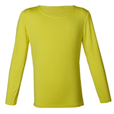 19f203d2 PANZY Girls Long Sleeve Plain Basic TOP Kids T-Shirt Tops Crew Uniform TEE 2-13Y  by (5-6 yrs, Yellow): Amazon.co.uk: Clothing