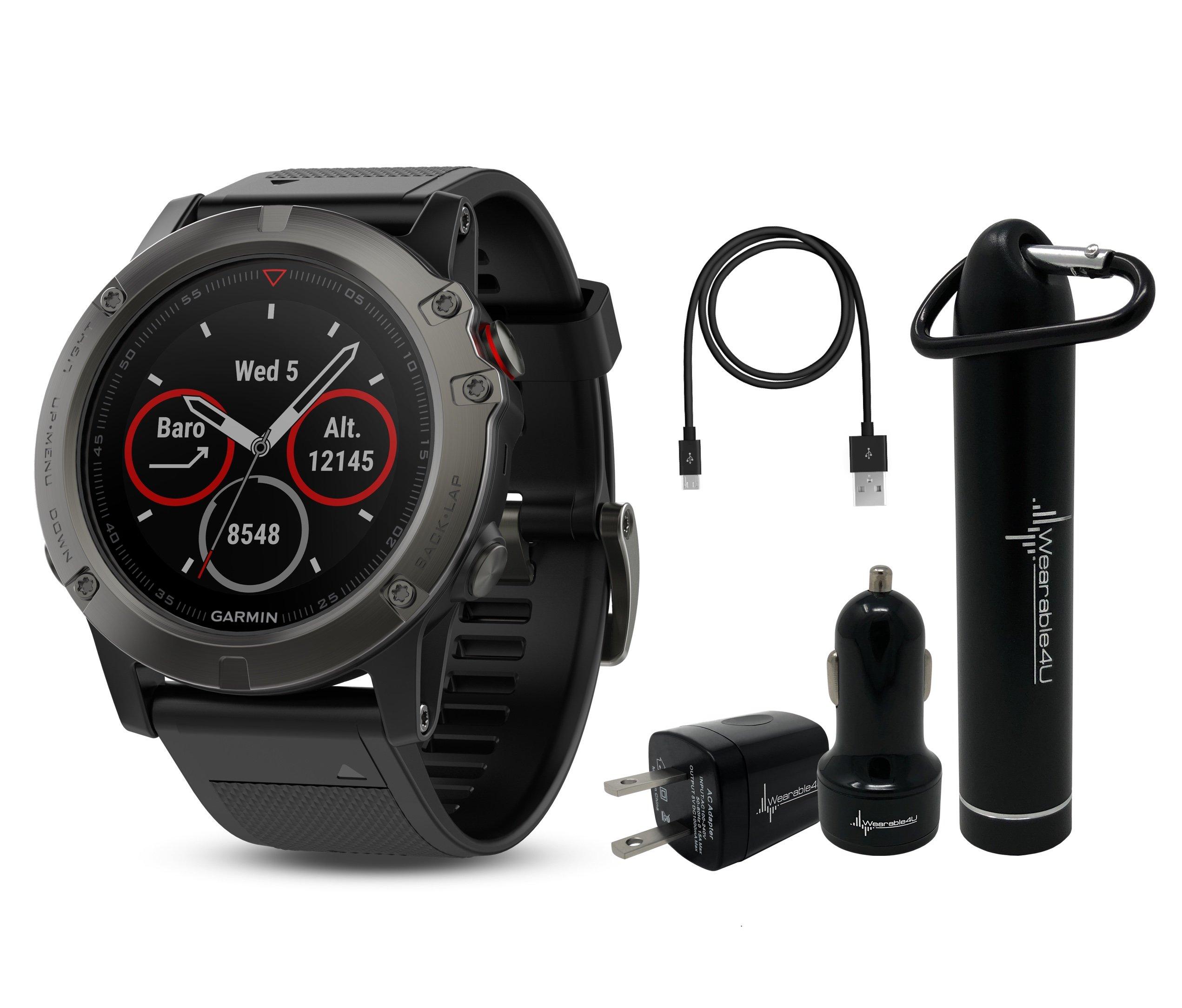Garmin Fenix 5X Sapphire Multisport GPS Watch with Preloaded Topo Maps and Wearable4U Ultimate Power Bundle (Slate Gray with Black Band)