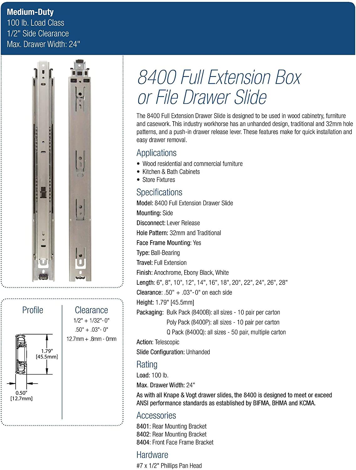 Knape and Vogt 8400B 18 8400 Series 18 Inch Full Extension Side