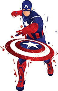 PGbureau 8x10 P10 Captain America Poster. Inspired Watercolor Illustration.Avengers Poster. Superhero Poster. Wall Art.Art Print.Wall Decor.Captain America Pictures.Kids Room Wall Art.for Wall.