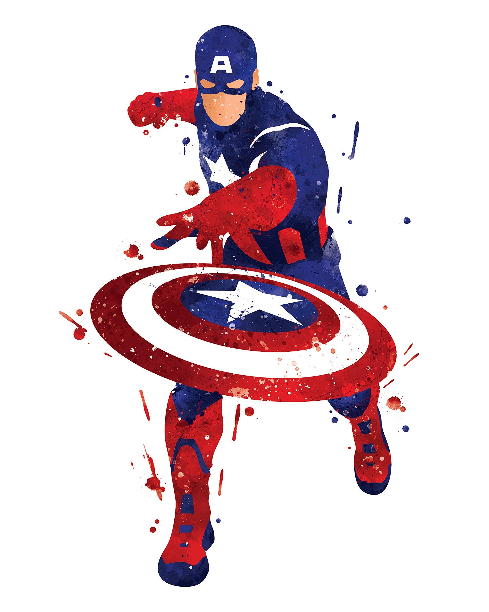 8x10 P10 Captain America poster. Inspired watercolor illustration.Avengers poster. Superhero poster. Wall art.Art print.Wall decor.Captain America pictures.Kids room wall art.for wall.