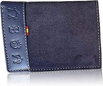 Cartera LEGADO Serraje de Ubrique hecha en piel de toro Billetera Tarjetero y Monedero para Hombre de Cuero Regalo Pulsera bandera de España y Tarjeta proteccion RFID (Marino Vertical): Amazon.es: Equipaje