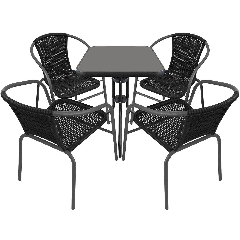 5tlg. Gartengarnitur Balkonmöbel Terrassenmöbel Set Sitzgruppe Poly-Rattan Stapelstuhl Bistrotisch Schwarze Tischglasplatte 60x60cm