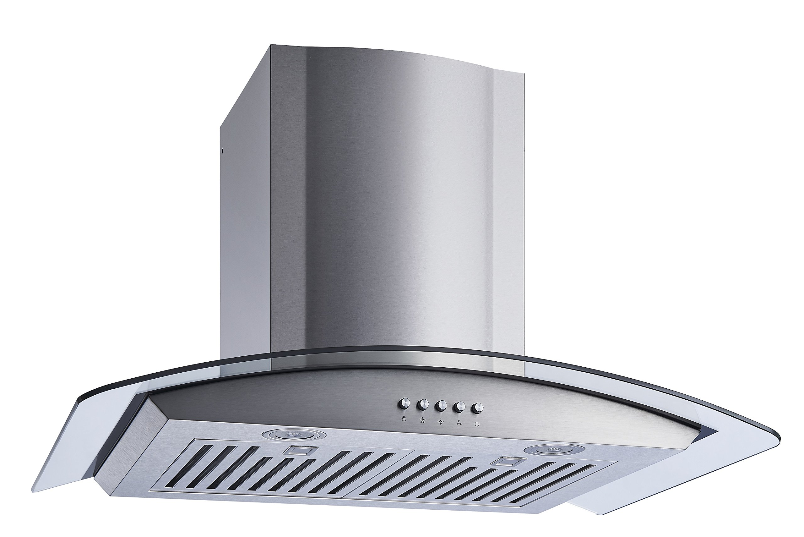 Winflo New 30'' Convertible Stainless Steel/Tempered Glass Wall Mount Range Hood with Stainless Steel Baffle filters, Ultra bright LED lights and Push Button 3 Speed Control