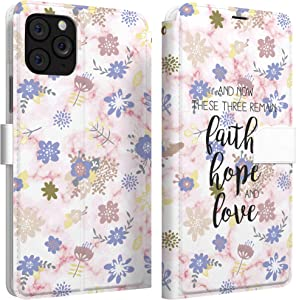Mertak Wallet Case Compatible with iPhone 11 Pro Max SE 10 Xr Xs X 8 Plus 7 6s Corinthians 13:13 Faith Slim Fit Lightweight Quote Protective Bible Verse Card Holder Hope Cover Flip Folio Flowers Love