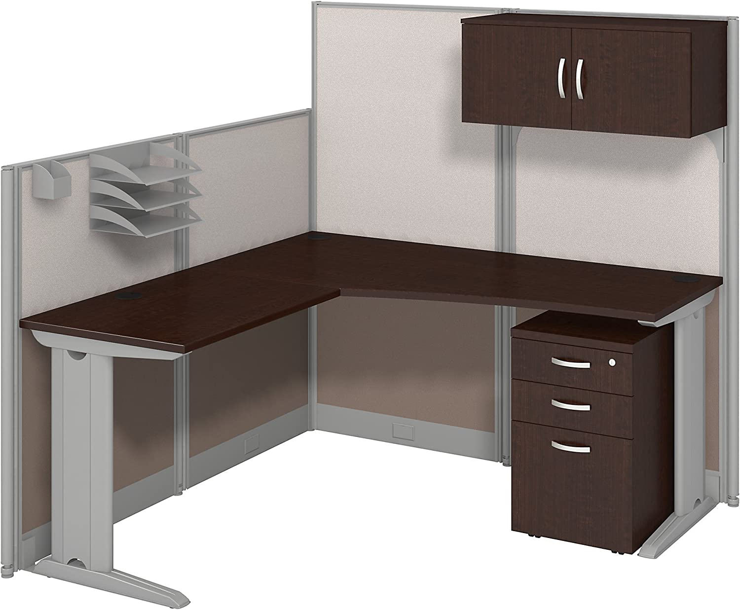 Bush Business Furniture Office in an Hour 65W x 65D LWorkstation with Storage and Accessory Kit in Mocha Cherry