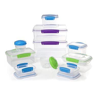 Sistema Klip It Accents Collection Food Storage and Meal Prep Containers, Assorted Shapes and Colors, 20-Piece Set