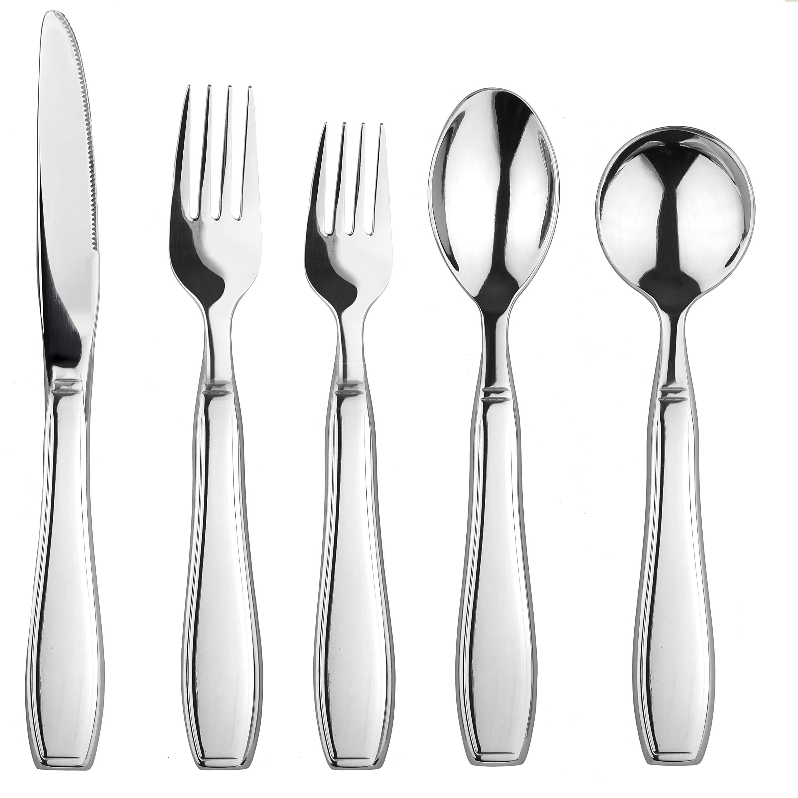 Linelax Weighted Utensils for Tremors and Parkinsons Patients - Heavy Weight Steel Silverware Set of Knife, Fork, Teaspoon and Soup Spoon - Adaptive Eating Flatware Helps Hand Tremor, Parkinson, Arthr by LINELAX
