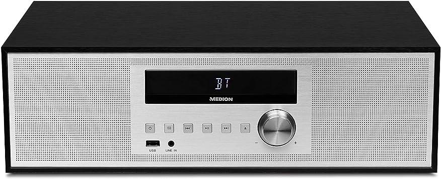 Medion Life p64301 MD 43301 Minicadena (CD, USB, Bluetooth, Radio, PLL FM, RDS, entrada auxiliar), color negro