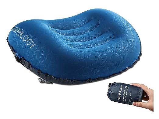 Trekology almohada de camping y viaje inflable ultraligera – ALUFT 2.0 Comprimible, compacta, cómoda, almohada hinchable ergonómica para el cuello y ...