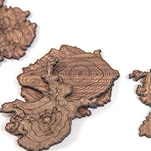 Pacific Northwest Wooden Coasters | Mt. Rainier, Mt. Hood, Mt. Baker, Mt. Bachelor and Mt. St. Helens | Coasters Made Using Real Walnut Wood in the USA [coasters]