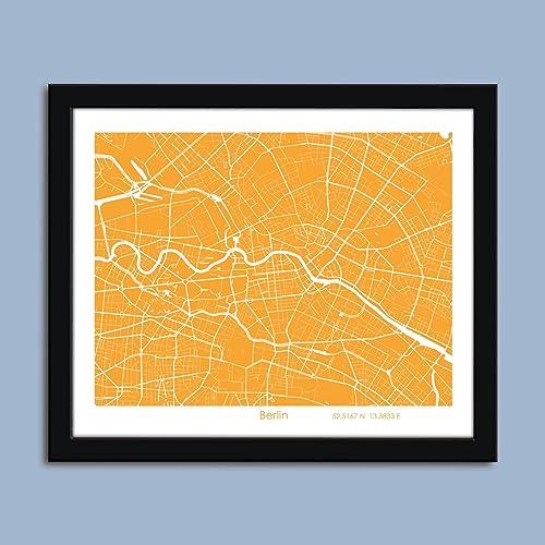 Amazon.com: Berlin map, Berlin city map art, Berlin wall art ...