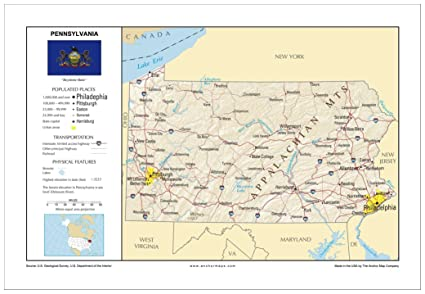 Amazon.com : 13x19 Pennsylvania General Reference Wall Map - Anchor ...