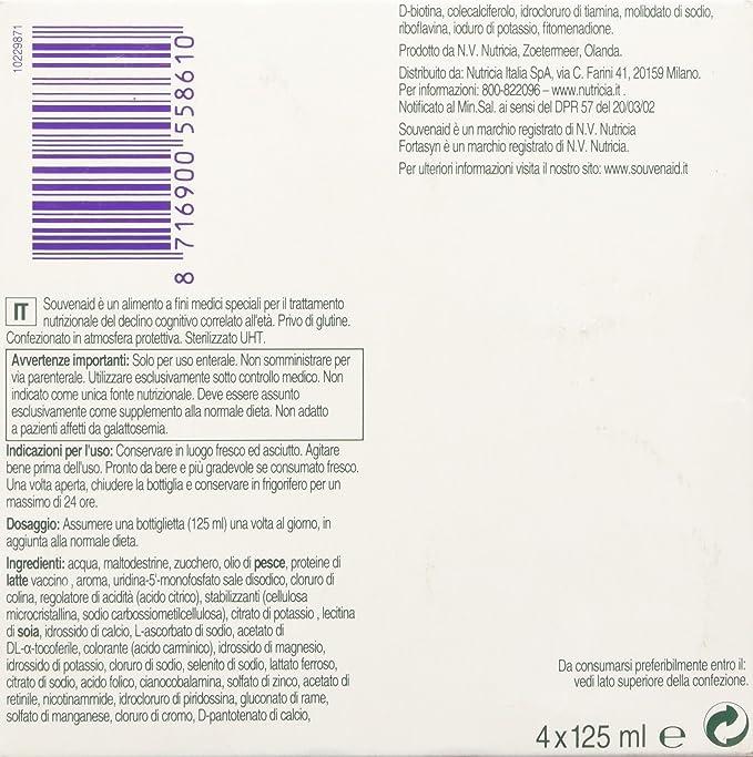 Suplemento Nutricia Souvenaid Alimentación Fresa Sabor 4x125ml: Amazon.es: Salud y cuidado personal