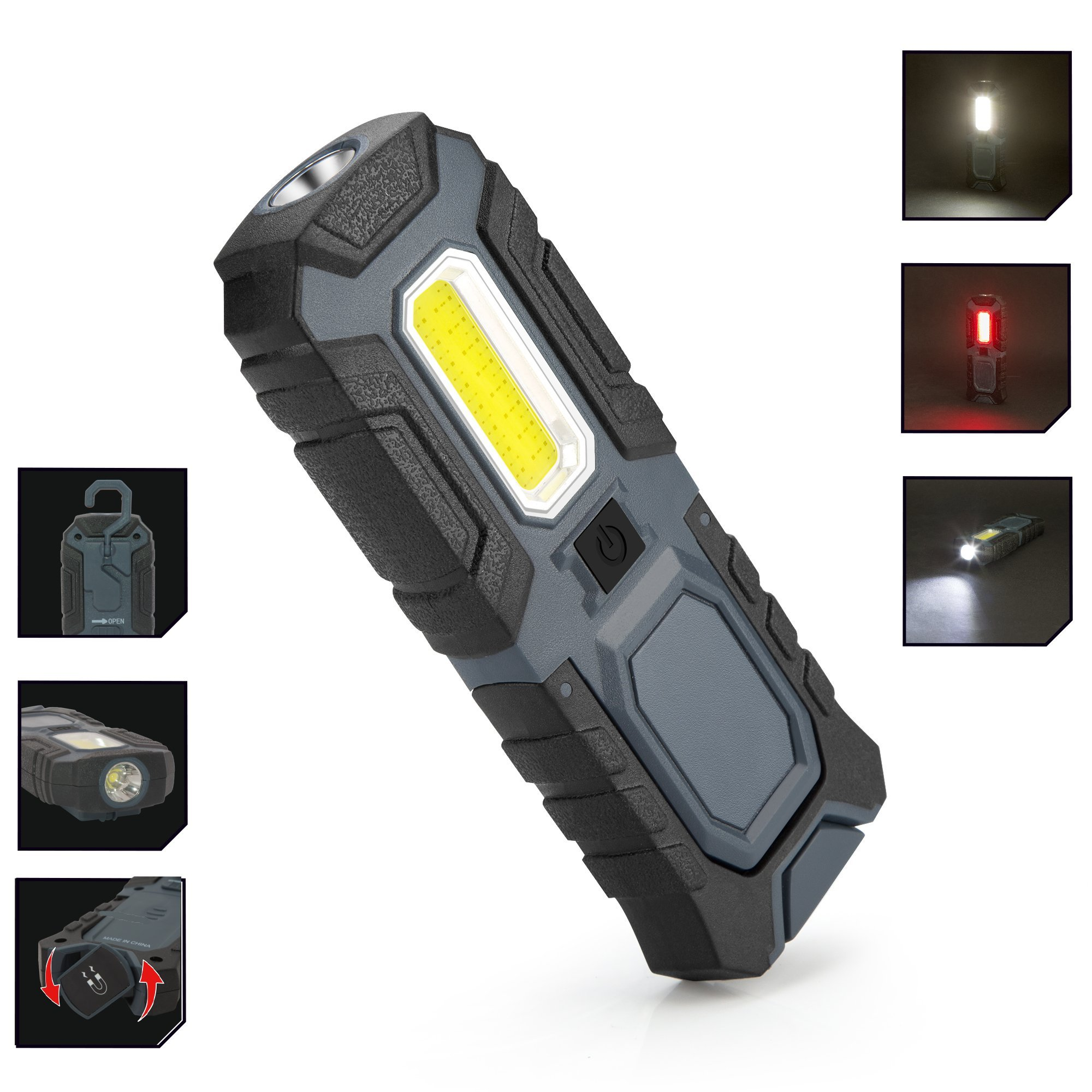 LED Flashlight 5W COB 400lumen Portable Work Light 2 in 1 function Worklamp for Workshop Car Repairing Emergency Blackout Cycling by YAKOUTFITTERS (Image #2)