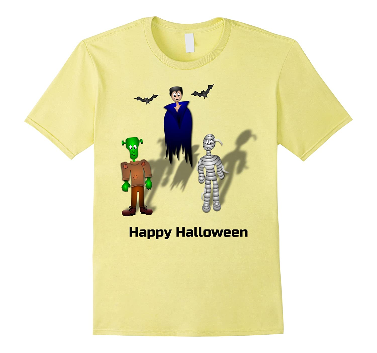 Happy Halloween T-shirt with Bats and Monsters-Rose