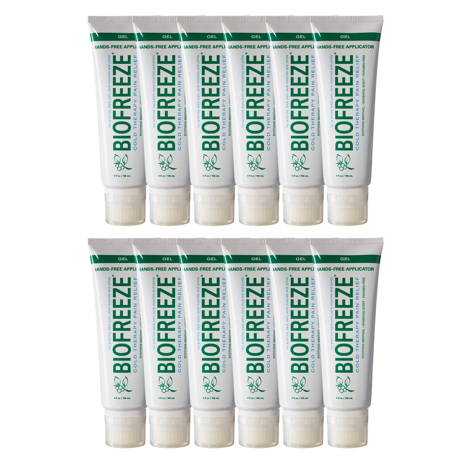 Biofreeze Pain Relief Gel for Arthritis, 4 oz. Tube with Hands-Free Applicator, Original Green Formula, Case of 12, 4% Menthol by Biofreeze