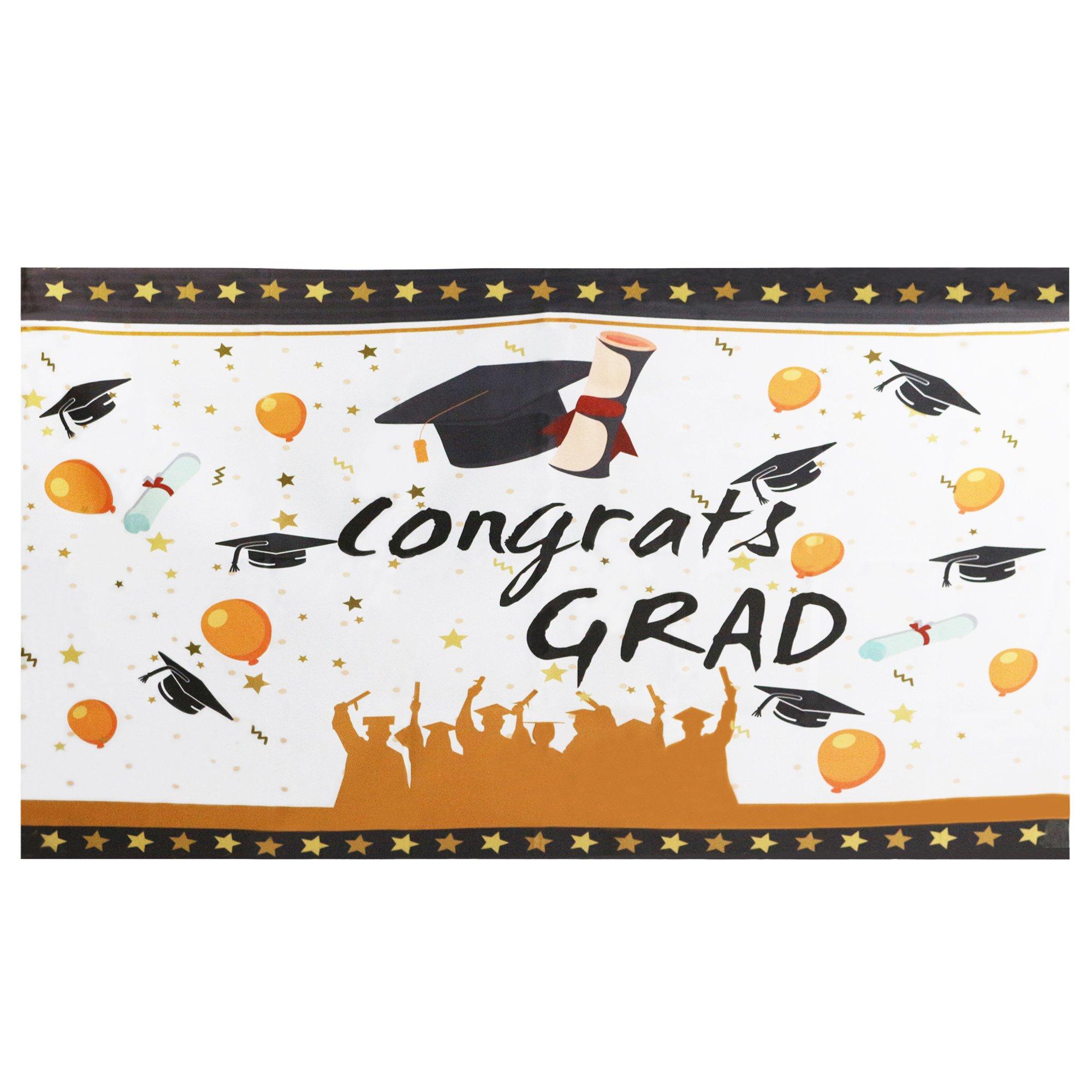 "Mosoan Large Graduation Banner | Graduation Party Decorations | Congrats Grad Banner Sign Supplies, 71"" x 40"" Size"
